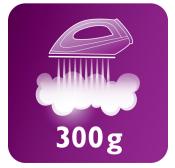 Vapore a 120 g/min e colpo di vapore da 300 g